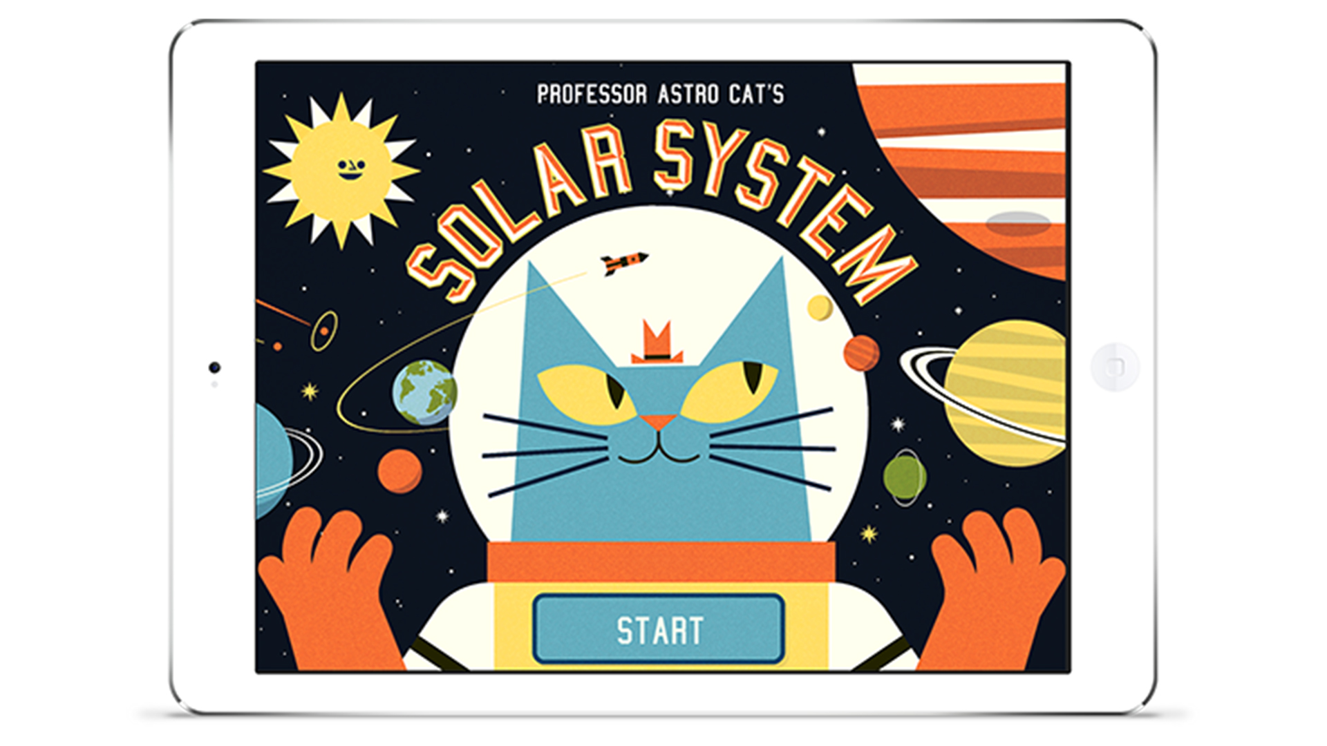 Professor Astro Cat's Solar System start screen in iPad