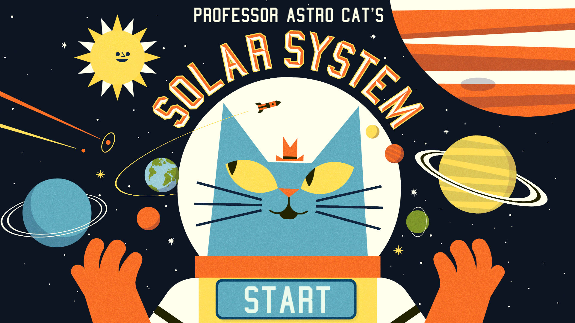Professor Astro Cat's Solar System App title screen