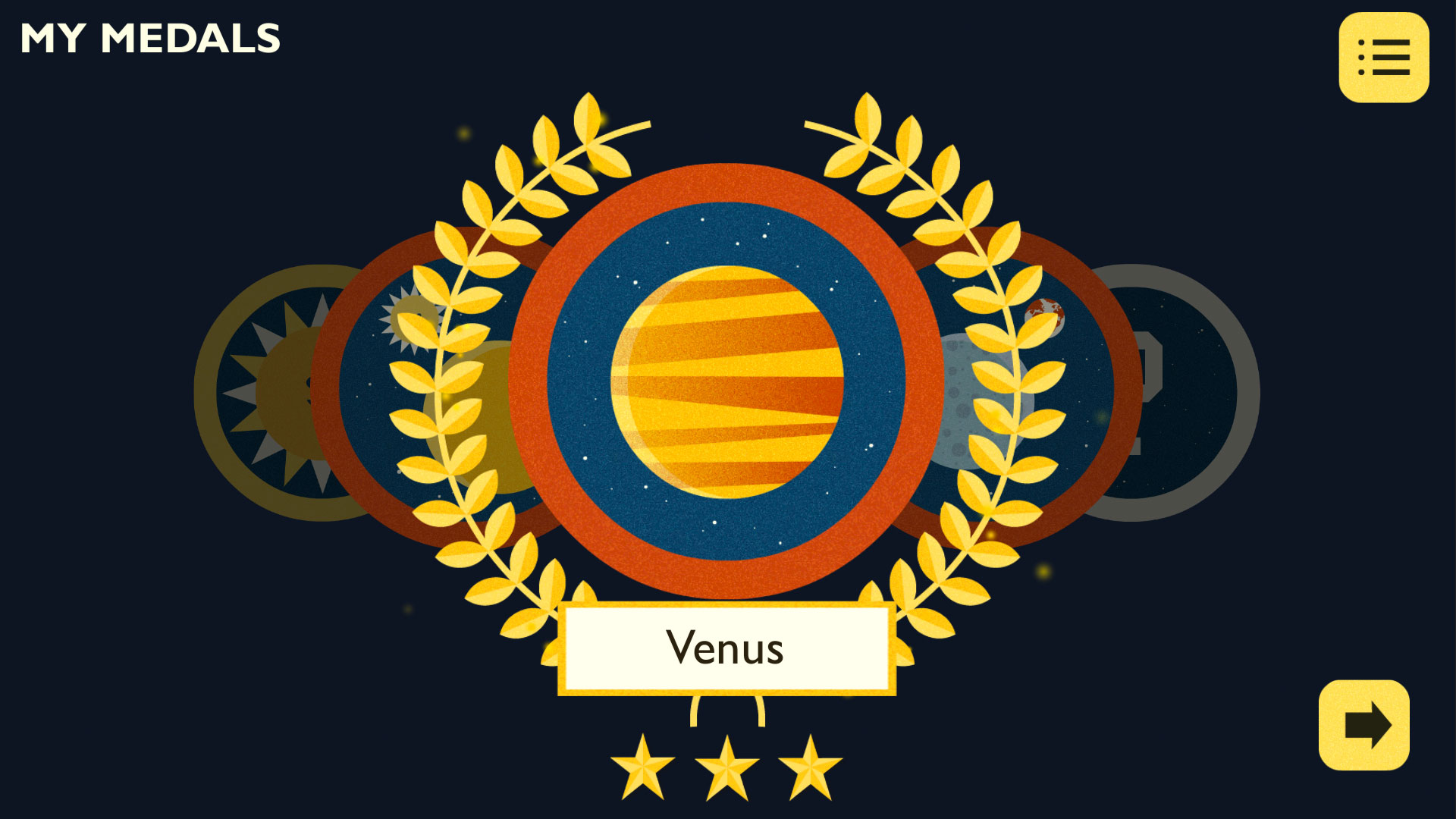 A medal featuring the planet Venus with gold laurels